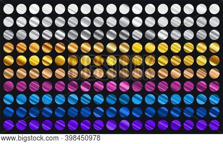 Big Set Of Metallic Color Gradients. Gold, Bronze, Silver, Blue, Violet And Purple Texture Gradation