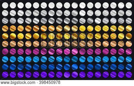 Big Set Of Metallic Color Gradients. Gold, Bronze, Silver, Blue, Violet And Purple Texture Gradation