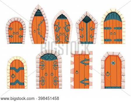 Fairytale Doors Medieval. Element Of Medieval Castle Or Fortres. Wooden Portals With Stone Arch, For
