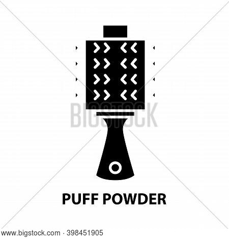 Puff Powder Icon, Black Vector Sign With Editable Strokes, Concept Illustration
