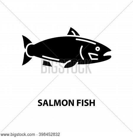 Salmon Fish Icon, Black Vector Sign With Editable Strokes, Concept Illustration