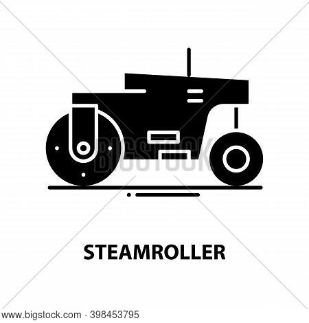 Steamroller Icon, Black Vector Sign With Editable Strokes, Concept Illustration
