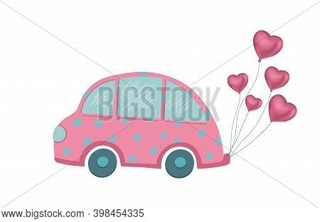 Nice Balloon Car. Valentines Day. Isolated Object. Abstract Poster On White Background. Cartoon Vect