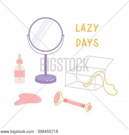 Skin Care Products For Spa. Vector Set Of Massage Roller, Gua Sha, Face Oil Bottle, Mirror, Jewelry
