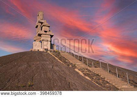 Gelsenkirchen, Germany - November 6, 2020: Rheinelbe Tip, Landmark Of Ruhr Metropolis Against Sky On