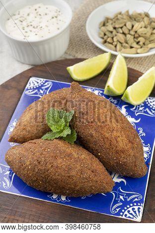 Traditional Arabic Fried Kibbeh. Typical Brazilian Snack.