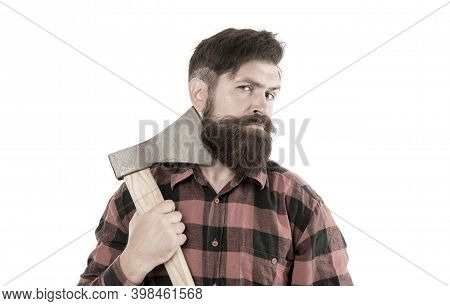 Keep Calm And Shave Beard. Brutal Lumberjack Having Shave With Sharp Axe Blade Isolated On White. Be