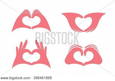 Gesture Of Love, Palms Showing Heart, Declaration Of Love, Like, Isolated Vector Graphics. Icons Set