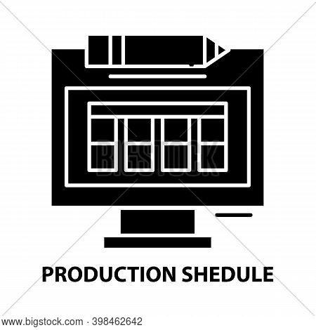 Production Shedule Icon, Black Vector Sign With Editable Strokes, Concept Illustration
