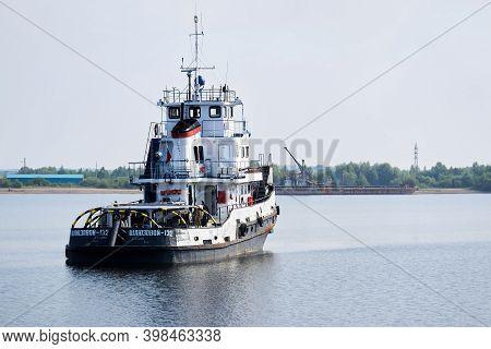 Perm Krai, Russia - July 27, 2020: Towboat On The Kama River
