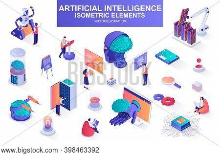 Artificial Intelligence Bundle Of Isometric Elements. Electronic Brain, Cyborg, Deep Learning, Futur