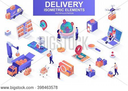 Delivery Service Bundle Of Isometric Elements. Courier On Scooter, Delivery Truck, Pinpointer, Wareh