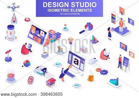 Design Studio Bundle Of Isometric Elements. Ui Ux Design, Font Typography, Front End Development, In