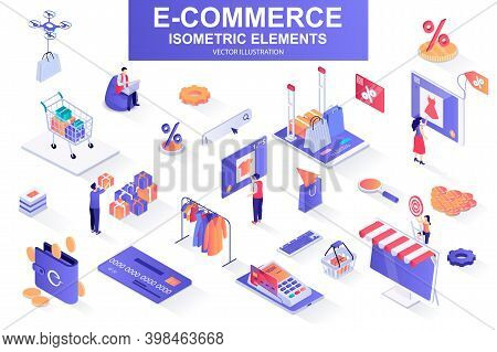 E-commerce Bundle Of Isometric Elements. Internet Marketplace, Atm Terminal, Online Shopping, Credit