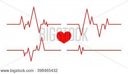 Heartbeat Line. Pulse And Cardiogram On Monitor. Icons Of Heart Beat. Ecg On Graph. Electrocardiogra
