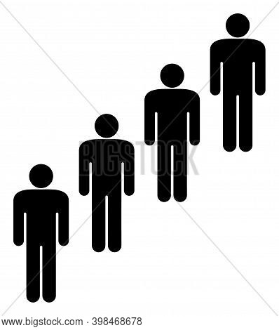 People Queue Icon With Flat Style. Isolated Raster People Queue Icon Image On A White Background.
