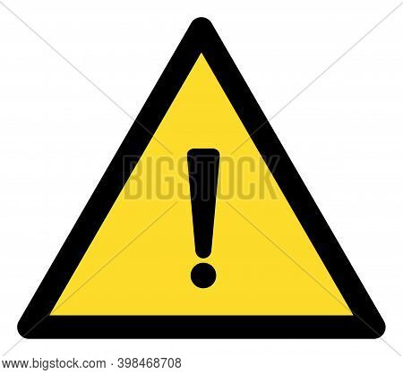 Exclamation Warning Icon With Flat Style. Isolated Raster Exclamation Warning Icon Image On A White