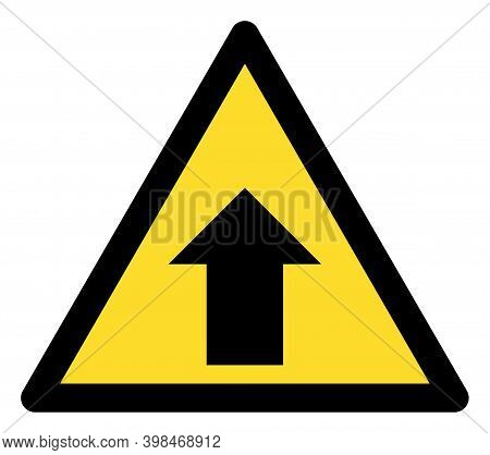 Up Direction Warning Icon With Flat Style. Isolated Raster Up Direction Warning Icon Image On A Whit