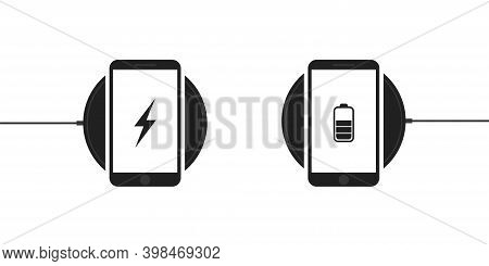 Wireless Charging For Smartphone . Phons On Wireless Charging , Vecto Icon On White Bsckground.