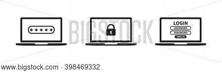 Laptop With Password Icon. Flat Computer With Lock . Login And Password On Page Laptop Screen .padlo