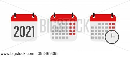 Calendar Icon Isolated On White Background. Calendar With Time Clock. 2021 Year . Vector Illustratio