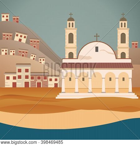 Typical Continental Greece Landscape -  Vector Illustration