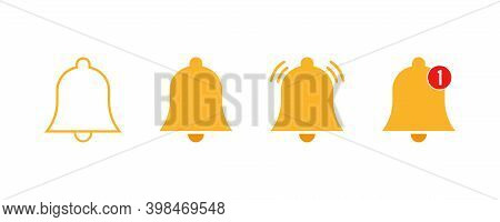 Notification Bell Icons .vector Illustration On White Background. Set Of Orange Notification Bells.a