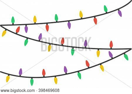 Colorful Hanging String Lights In Flat Style On White Background.color Christmas Lights Isolated . N