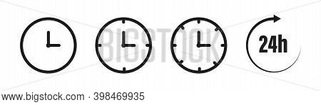 Clock Icons Set. Colection Of Timers And Clocks In Line Styl . Black Illusration On White Background