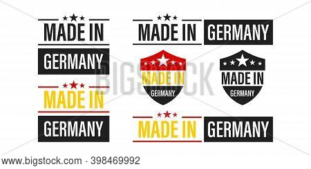 Made In Germany. Set Of Logos And Labels Made In Garmanyin Flat Style .vector Illustration. Isolated