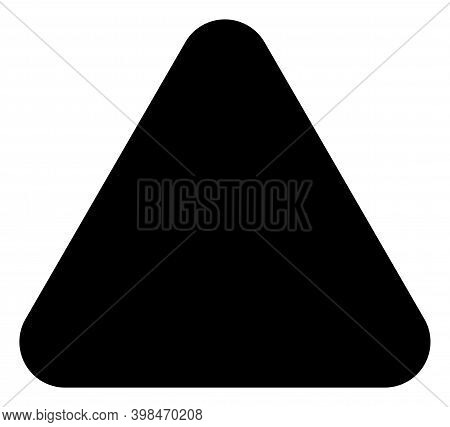 Rounded Triangle Icon With Flat Style. Isolated Raster Rounded Triangle Icon Image On A White Backgr