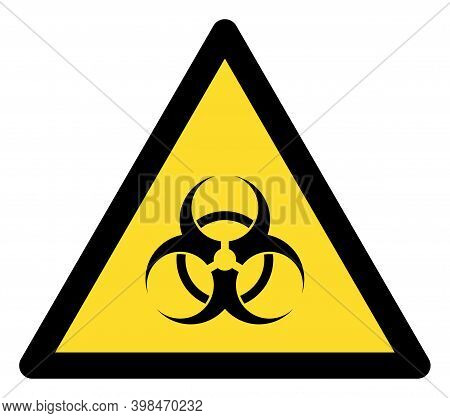 Biological Hazard Warning Icon With Flat Style. Isolated Raster Biological Hazard Warning Icon Image