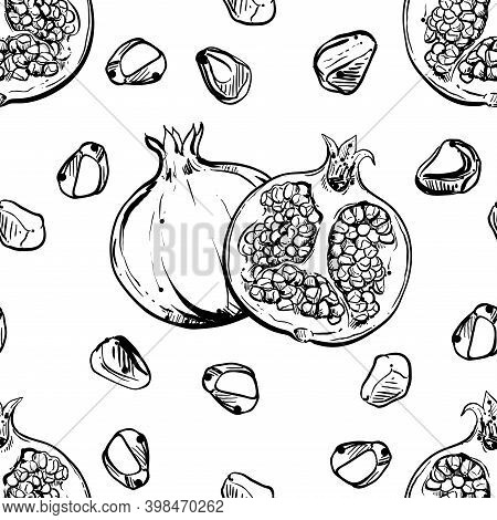 Detailed Hand Drawn Black And White Vector Seamless Pattern Of Pomegranate. Sketch. Elements In Grap