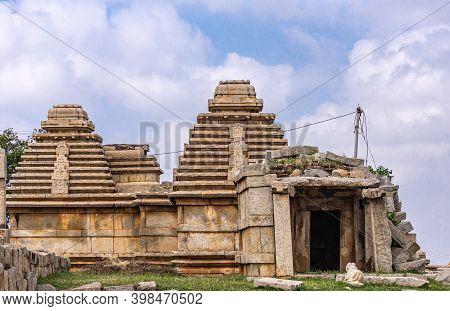 Hampi, Karnataka, India - November 4, 2013: Virupaksha Temple Complex. Closeup Of Beige Stone Ruinou