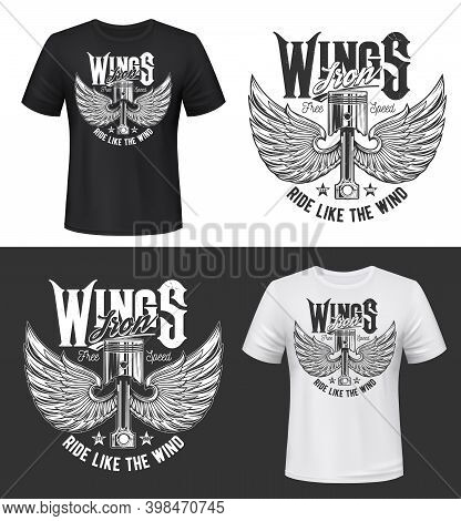 Tshirt Print With Winged Car Engine Valve Vector Mockup. Retro Automobile Part With Bird Or Angel Wi