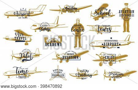 Flight, Airline Planes Icon, Aviation Fly And Airport Travel, Vector Retro. Pilot Academy, Avia Inst