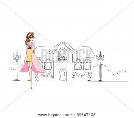 Beautiful Fashion Girl On The Street. Vector Illustration