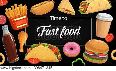 Fast Food Menu Vector Cover, Hamburger French Fries. Cola, Coffee And Onion Rings With Doner Kebab O