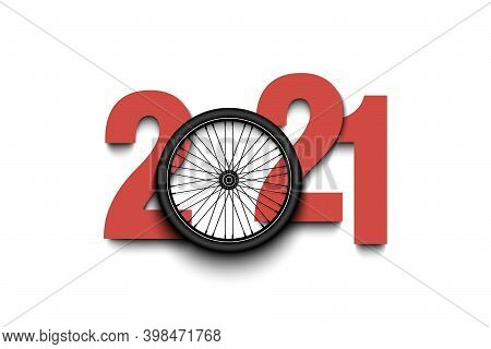 New Year Numbers 2021 And Bicycle Wheel On An Isolated Background. Creative Design Pattern For Greet
