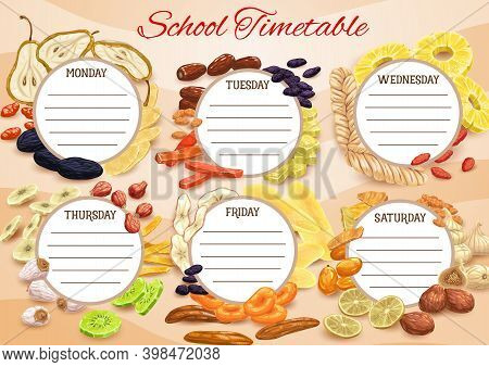 School Timetable, Schedule Planner Of Week, Vector Education Time Table With Dried Fruits. School Ti