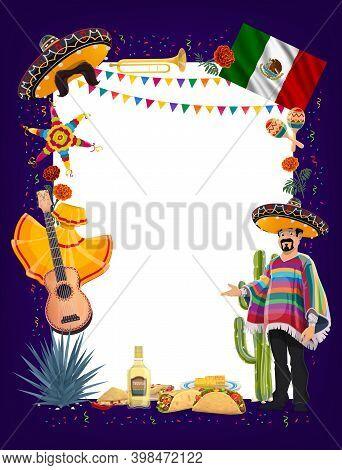 Mexican Cinco De Mayo Fiesta Party Signboard With Vector Frame Of Mariachi, Sombreros, Maracas And G