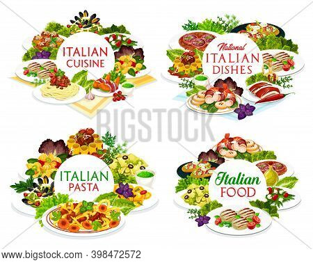 Italian Cuisine Vector Dishes Melon Horned With Ham, Italian Meatballs And Cannelloni, Salad With Mo