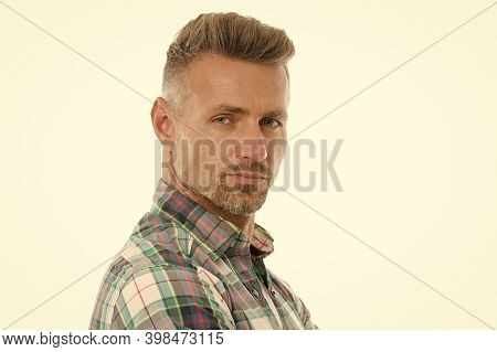 Handsome Mature Man With Stylish Hairstyle. Styling Fringe Requires That You Apply Some Pomade Or Wa