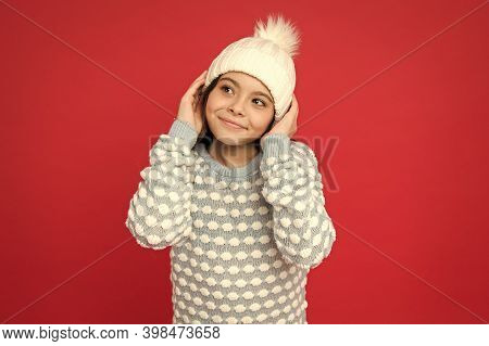 Adorable Baby. Angel Child. Child In Cosy Knitted Outfit. Winter Fashion. Childhood Happiness. Winte