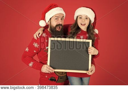 Information For Santa. Happy Family Hold Information Board. Festive New Year Information. Holiday Co