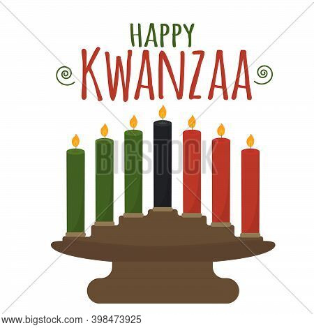 Happy Kwanzaa - Text. African American Ethnic Cultural Holiday. Candle Holder Kinara Vector Illustra