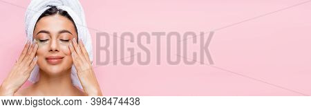 Smiling Beautiful Woman With Closed Eyes And Hydrogel Eye Patches On Face Isolated On Pink, Banner