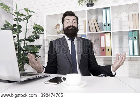 I Love Meditation. Businessman Sit With Mudra Gesture. Music For Meditation. Bearded Man Enjoy Medit