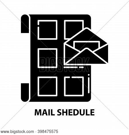 Mail Shedule Icon, Black Vector Sign With Editable Strokes, Concept Illustration