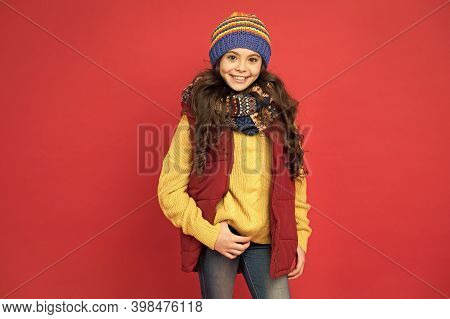 Fashionable Wear For Fresh Air. Happy Girl In Fashionable Style Red Background. Fashionable Look Of
